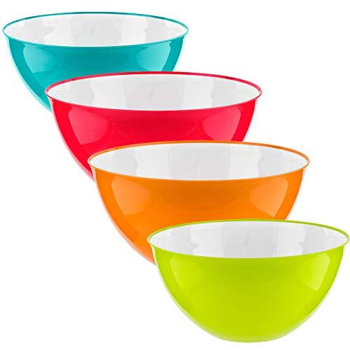 Homeshopa Salatschüssel-Set, 4 Stück, mehrfarbig, Kunststoff, große Rührschüsseln, zum Servieren von Snacks, Lebensmitteln, Obst, 25 cm, 3500 ml