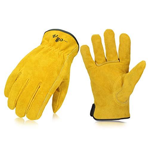 Vgo 耐熱グローブ 牛床革 作業手袋 革手袋 BBQ メンズ かわてぶくろ 背抜きリガー手袋 耐摩耗 滑り止め 皮手袋 溶接 キャンプ 薪割り 耐熱手袋 (1双入,Size S,ゴールド,CB9501)