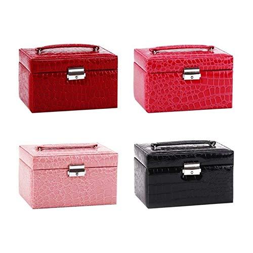 XIAO-XIN 2021 New Jewelry Box Anillos de Pendiente Organizador Funda de Cuero Soporte de Pantalla con Bloqueo Multifuncional de Tres Capas (Color : Wine Red)