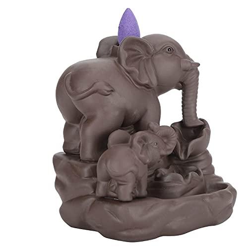 Quemador de Incienso con reflujo Pinofy Soporte de Incienso con Forma de Elefante, práctico Soporte de Incienso con reflujo, Hermoso multifunción para decoración de meditación, Yoga, SPA