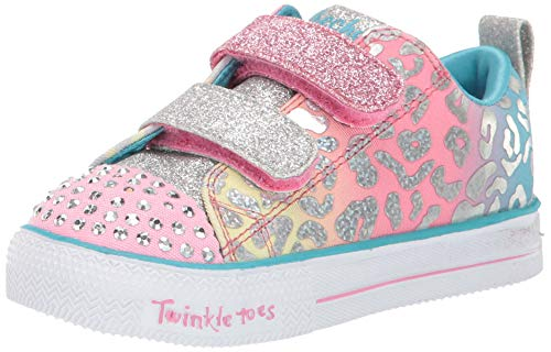 Skechers Kids Girls' Shuffle LITE-Leopard Cutie Sneaker, Pink/Multi, 6 Medium US Toddler