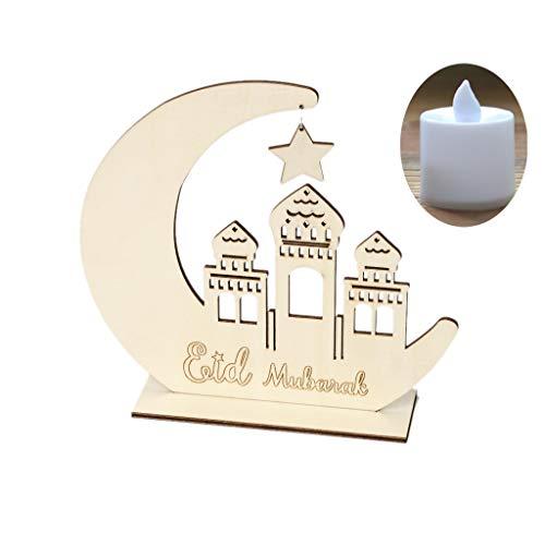 E-HONER Hölzerner Ramadan Eid Mubarak Mondstern Islam hängende Anhängerplatte mit LED-Licht