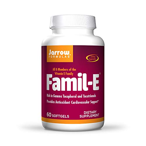 Jarrow Formulas Famil-E - 60 Softgels - Promotes Heart & Cardiovascular Health - Contains All Eight Members of The Vitamin E Family - Rich in Gamma Tocopherol & Tocotrienols - 60 Servings
