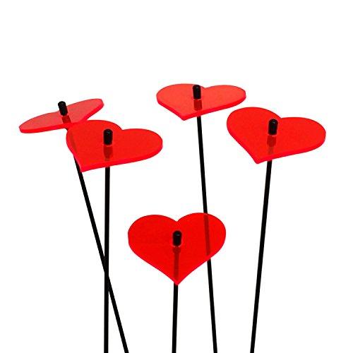 SunCatcher: SONNENFÄNGER 5er Set 'Herzen' Fluoreszierende Gartendeko   6cm Durchmesser mit 25cm Schwingstab   Hochzeit Liebe Love Valentinstag, Farbe:Rot