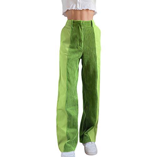 Loalirando Y2K Pantaloni Dritti da Donna personalità in Velluto a Coste a Contrasto di Colore Patchwork Pantaloni Casual a Vita Alta Patchwork (Verde, L)