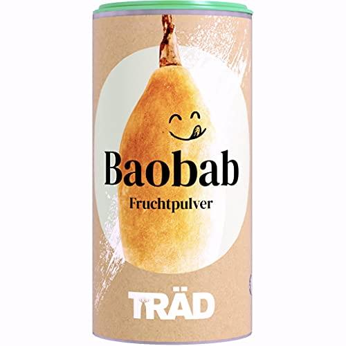TRÄD Baobab Pulver | Affenbrotbaum Fruchtpulver | Baobabpulver für Smoothies | 100{1f12df3e8f1886e2bb7357118da55db511e21a3292500a3fbb9919eb74ad658a} Bio, Vegan, Roh | Fairwild-Zertifiziert Wildsammlung -170g