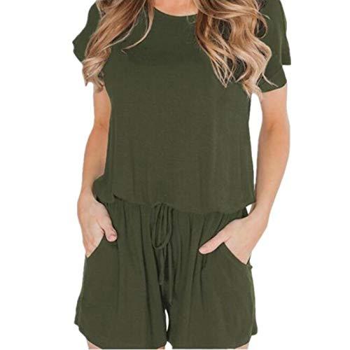 sunnymi Mono para mujer, manga corta, cuello redondo, pantalón corto holgado verde L