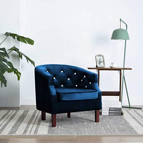 UnfadeMemory Butaca Sillón Relax con Botones Decorativos,Tapicería de Terciopelo,65x64x65cm (Azul)