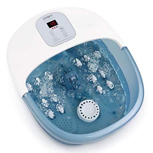 Fußbad Spa mit Heizung Blasen und Vibration, 14 Shiatsu-Massagerollen zur Linderung von Fußmuskelschmerzen, Fußbad-Massagegerät mit einstellbarer Temperatur für den Home-Office-Gebrauch