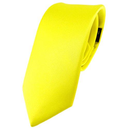 schmale TigerTie Satin Seidenkrawatte in gelb zitronengelb einfarbig Uni - Krawatte 100% Seide