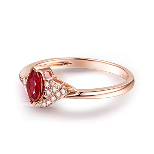 Socoz 18K Rose Gold Couple Wedding Rings,Ruby Shaped Marquise 0.35Ct Women Rose Gold Proposal Ring pink gold steampunk buy now online