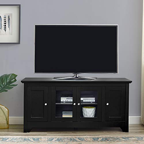 Walker Edison Wood Universal Stand with Storage Cabinets for TV's up to 58