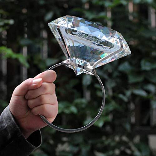 N-S Anillo de diamante gigante creativo, suministros de boda, propuesta, regalo sorpresa, arreglo publicitario de 80 mm, diamante morado + anillo + letras para enviar caja de brocado