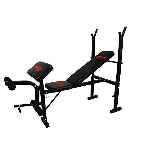 banco ejercitador athletic works con barra y pesas negro fabricante FUXION SPORTS