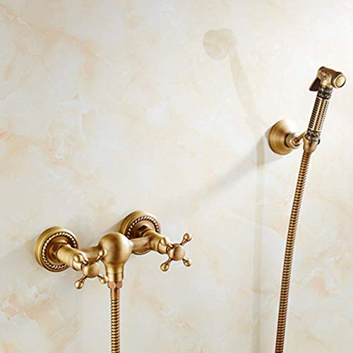 Great Deal! Lefran Bidet Faucet Antique Solid Brass Tube Cold and Hot Water Shower Mixer with Bidet ...