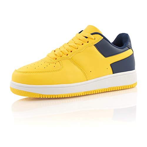 Fusskleidung® Damen Herren Sportschuhe Dämpfung Sneaker leichte Laufschuhe Gelb Dunkelblau EU 38