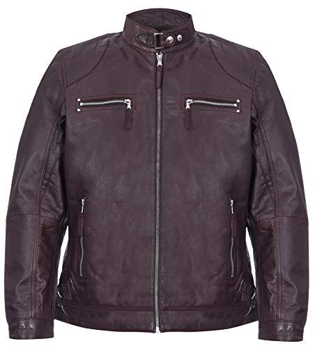 Infinity Leather Chaqueta de Cuero Borgoña del Motorista de Nappa de los Hombres