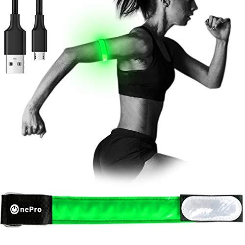 LEDアームバンド usb充電式 夜間スポーツ用 ランニング ジョギング ウォーキング ライト 安全確保 高輝度 ライトベルト 夜間の事故防止 回避 反射材 グマジックテープ 伸縮性あり 着用心地いい (グリーン)