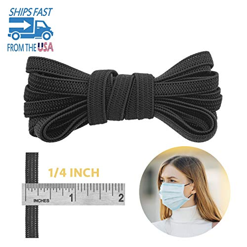 Knit Elastic Band for Sewing - 1/4' (6.5mm) Heavy Stretch Flat Bungee - Arts and Crafts, DIY Face Masks - Braided Cord - Extra Stretchy String for Earloop - 5 Yards (Black), by Adolfo Designs