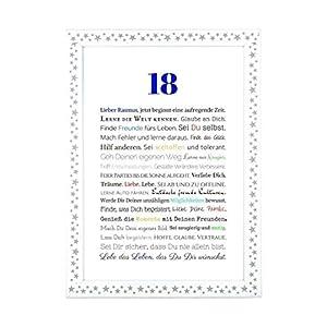 18. Geburtstag – Geschenkidee zur Volljährigkeit – Personalisiertes Bild mit Rahmen – Geburtstagsgeschenk für einen…
