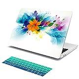 Coque en cristal dur pour Batianda Beautiful Flowers Paint pour nouvelle version 2018 du MacBook Air 13 Retina Touch ID (modèle: A1932) avec revêtement en dégradé de clavier vert