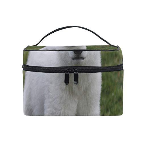 Sac de maquillage Ours polaire blanc Sac cosmétique mignon Grand sac de toilette portable pour femmes/filles Voyage