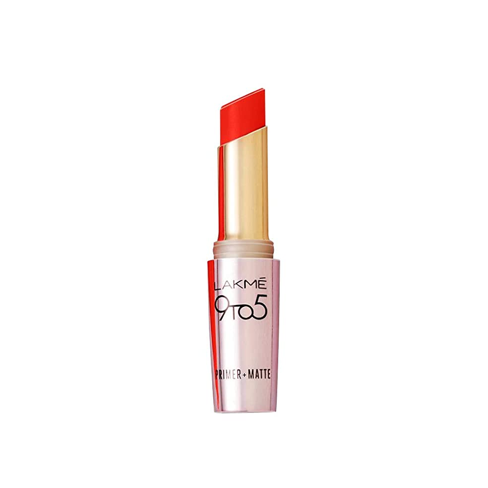 寝具ゆでる反対にLakme 9 to 5 Primer with Matte Lip Color, MR8 Orange Edge, 3.6g