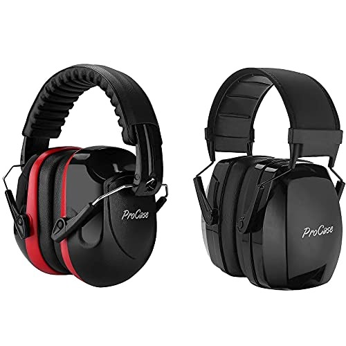 ProCase NRR 28dB Shooters Hearing Protection Headphones Bundle with NRR 35dB Hearing Protection Headphones , Adjustable Professional Noise Cancelling Ear Defenders for Construction Work Shooting Range