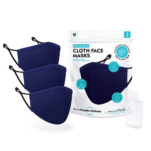 SoundHealth&Wellness Reusable Cloth Face Masks - Machine Washable (3 Pack)
