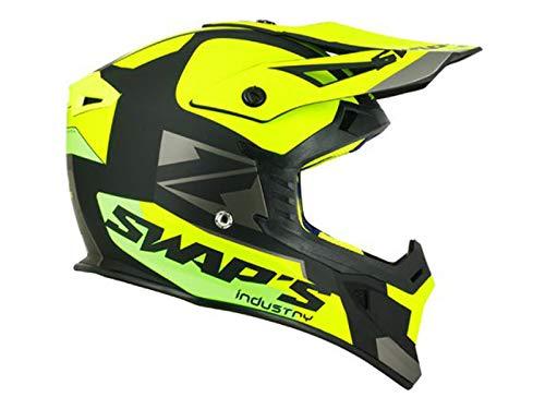 SWAPS Casco da cross per adulti, Blur S818, nero/giallo fluo/verde opaco, taglia S