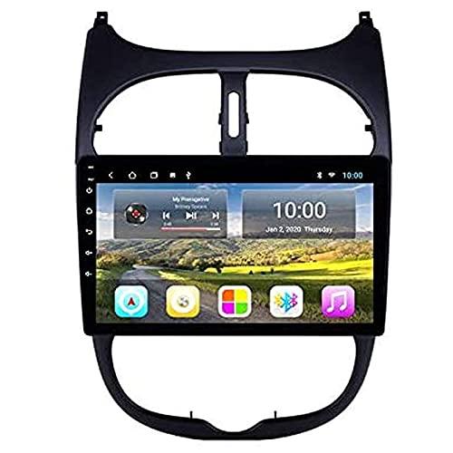MISSLYY Coche EstéReo De NavegacióN GPS Sistema para Peugeot 206 2000-2016, Auto Bluetooth IPS Pantalla TáCtil Coche Radio EstéReo Multimedia MúSica Player 9/10inch (4g+WiFi)