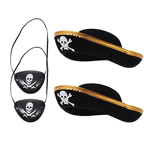 Balacoo 4 Piezas de Accesorios de Disfraz de Pirata Sombrero de Pirata Parche de Ojo con Estampado de Calavera para Vestido de Fantasía del Caribe Suministros de Disfraces de Pirata