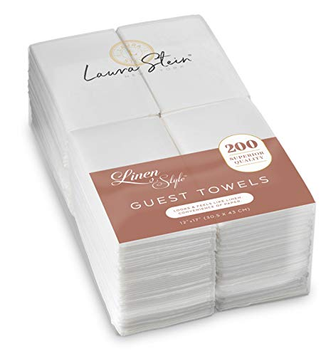 Laura Stein Linen-Feel Disposable Guest Towels (White, 200 Count) | Quality, Soft, Highly Absorbent Hand Napkins for Wedding Receptions, Restaurants, Bathrooms, Kitchens, Tables, Events & Everyday Use