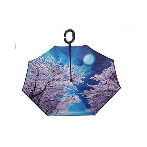 Creative C gancho mango reverso plegable calidad patrón brillante doble capa a prueba de viento lluvia soleado paraguas