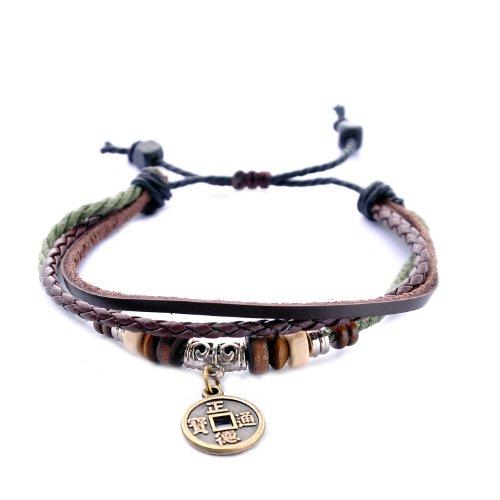 Morella Damen geflochtenes Armband aus Leder mit Ringen, Beads und Glückssymbol Anhänger