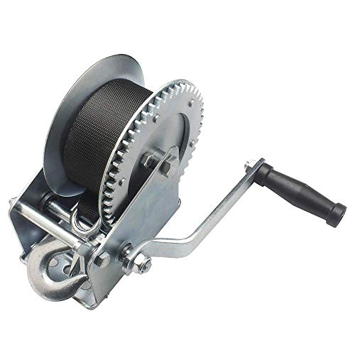OPENROAD 1600lb Boat Trailer Winch,10M Strap Hand Crank Gear Hand Winch,Boat Winch with Hook