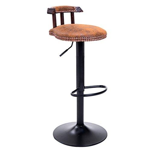 Ali@ Chaises de bar en acier de style américain Chaises de bar rétro Chaise en bois massif de levage Tabouret haut Tabouret de bar Style européen Chaise pivotante (Couleur : A)