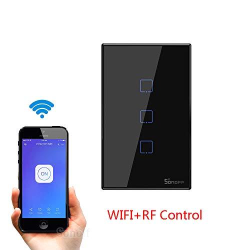 SONOFF T2 T3 US TX Smart Wifi Touch Interruptor de pared con borde Smart Home 1/2/3 Gang 433 Control RF/Voice/App funciona con Alexa, negro