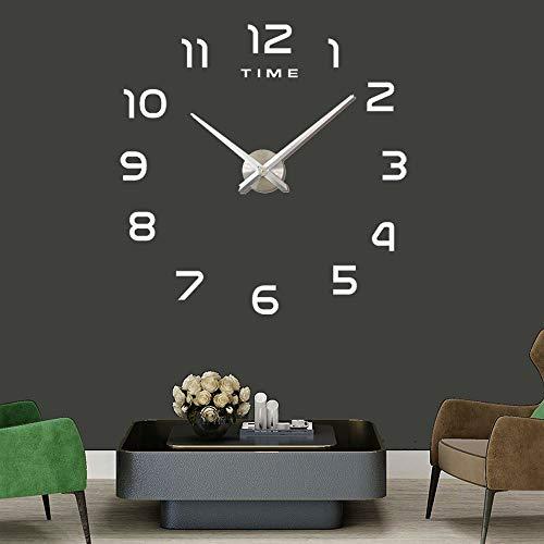 Wall Clock DIY 3D Modern Office Clock for Living Room Bedroom Home Decor (Silver)