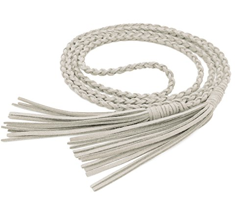 Nanxson Damen Taillengürtel Vintage Gewebte Quasten Leder Dünn Seil Gürtel für Kleid PDW0040 (149cm lang, weiß