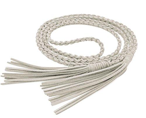 Nanxson Damen Taillengürtel Vintage Gewebte Quasten Leder Dünn Seil Gürtel für Kleid PDW0040 (176cm lang, weiß