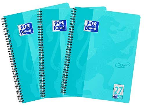 Oxford Touch Collegeblock A4, liniert, 80 Blatt, türkis, 3er Pack