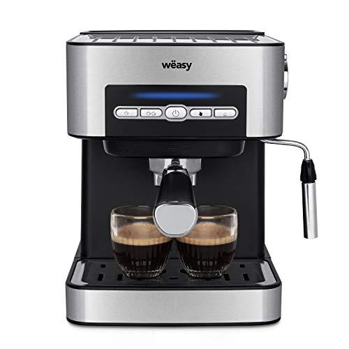 Wëasy KFX32 Maquina de Café Espresso Programable, 850 W, 15 Tazas, Depósito de 1.6 litros, Presión Bomba 20 Bares, Brazo Doble Salida, Vaporizador, Superficie Calientatazas, Acero Inoxidable, Plata