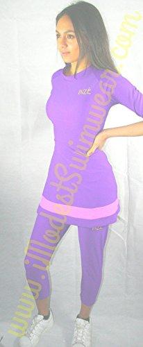 Roze Paars Bescheiden Badmode Jurk met Zwembroek/Hoed Islamitische Badmode Gym Jurk Bescheiden Activewear Jurk Gym Kleding Zwangerschap Badmode Kleding Christelijke Zwemkleding Joodse Bescheiden Kleding Hindoe Tankini Burquini Bikini Windsurfen Outfit UV Bescherming Zwemkleding Overdekt Strand Kostuum Zwemmen Leggings