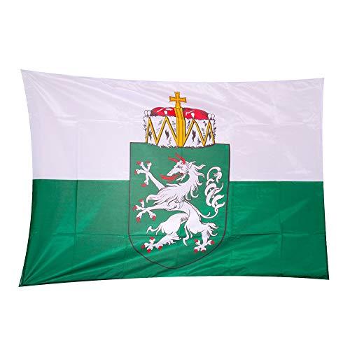 Fahnen Kössinger, Hissflagge im Querformat, Fahne Bundesland Steiermark, Hissflagge mit Wappen, hochwertiger Siebdruck, Brillante Farben, weiß-grün, reißfest, 200 x 120 cm, 2,4 m² Fläche