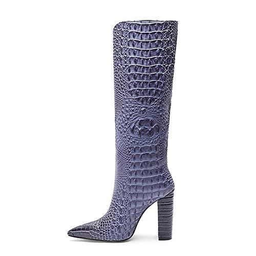 Kozaki damskie do kolan, wysokie buty na grubym obcasie, damskie szpilki na wysokim obcasie wzór krokodyla Kozaki do kolan, damskie jesienne i zimowe buty skórzane (Color : Blue, Size : 35 EU)