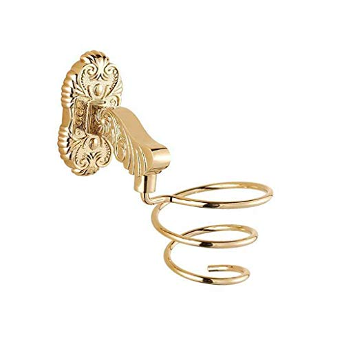 HYY-YY - Soporte para secador de pelo en espiral, organizador de pelo para baño, accesorios de baño, color dorado