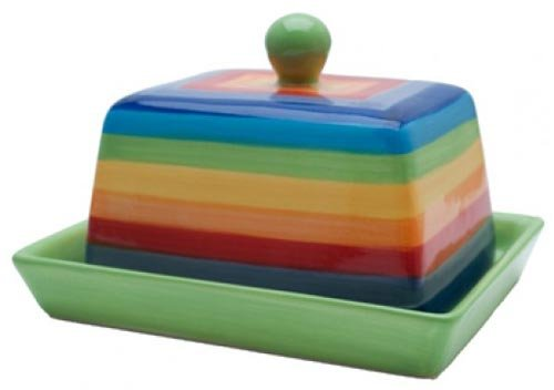 RAINBOW STRIPE Ceramic Butter Dish with Lid - 16cm