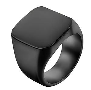 JewelryWe Schmuck Biker Edelstahl Herren-Ring, Glänzend Poliert Siegelring Quadrat Band Ring, Schwarz Größe 57 - mit Geschenk Tüte