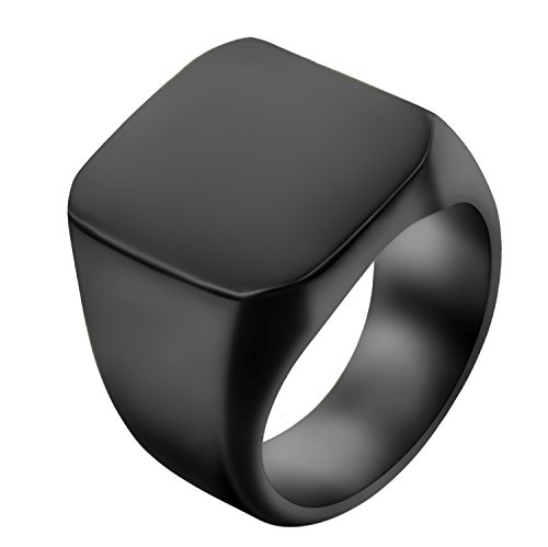 JewelryWe Schmuck Biker Edelstahl Herren-Ring, Glänzend Poliert Siegelring Quadrat Band Ring, Schwarz Größe 65 - mit Geschenk Tüte